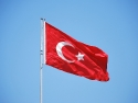 The famous red flag of Turkey on Bodrum Castle