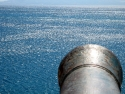 Blue sea and cannon view from the top of St. Peters castle, Bodrum