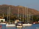 Several boats and yachts in the harbor of Gumusluk, Bodrum, Turkey