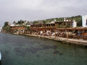 Fish restaurants at the shore of Gumusluk, Bodrum, Turkey
