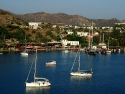 Panorama view on the harbor of Gumusluk, Bodrum, Turkey